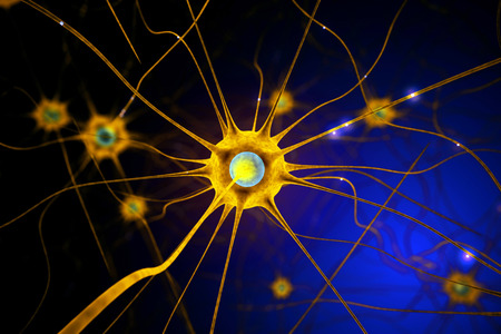 hormones: Closeup of yellow nerve cell on abstract dark background. 3D Rendering
