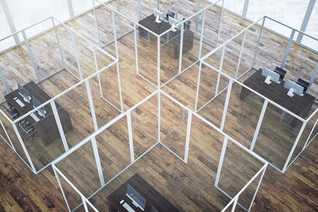 partitions: Top view of abstract office interior with framed glass partitions and dark wooden floor. 3D Rendering Stock Photo