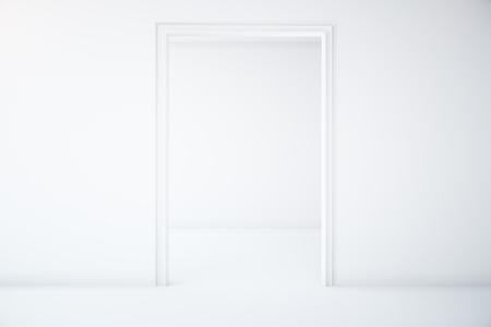 minimalistic: Minimalistic white interior with doorway. 3D Rendering