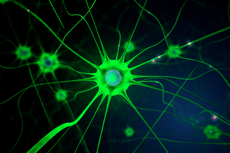 nerve cell: Closeup of green nerve cell on abstract dark background. 3D Rendering Stock Photo