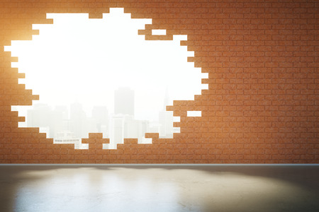broken wall: Abstract broken red brick wall with New York city view in room with concrete floor. 3D Rendering
