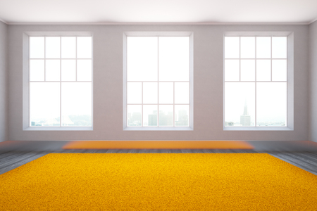 cozy: Front view of minimalistic interior with floor-to-ceiling windows, city view and bright orange carpet. 3D Rendering