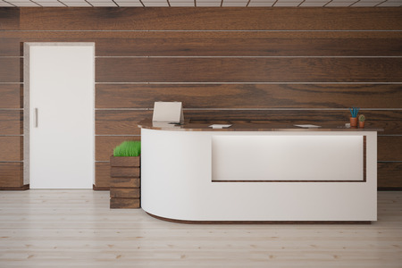 Interior with several items on reception desk, white door, wooden walls and floor. 3D Rendering