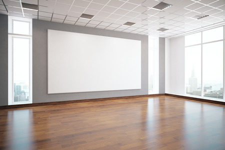 shiny floor: Modern interior with empty white billboard, shiny wooden floor, patterned ceiling, window with city view and daylight. Mock up, 3D Rendering Stock Photo