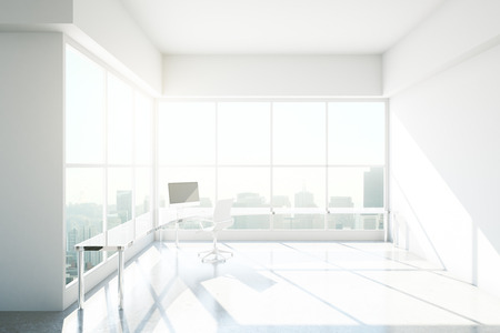 sideview: Spacious bright office interior with workplace and city view. 3D Rendering Stock Photo