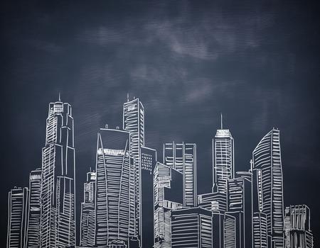 Creative city sketch on chalkboard background
