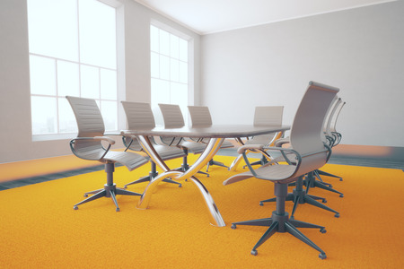 conference table: Conference table and chairs in concrete interior with bright orange carpet. 3D Rendering Stock Photo