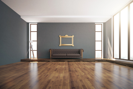 dark room: Luxurious interior design with wooden floor, dark grey walls, floor lamp, windows with daylight, ornate golden frame and brown leather couch. 3D Rendering Stock Photo