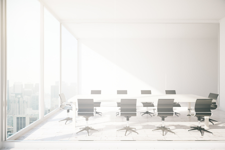 daylight: Conference room interior with white meeting table, chairs and window with city view and daylight. 3D Rendering Stock Photo