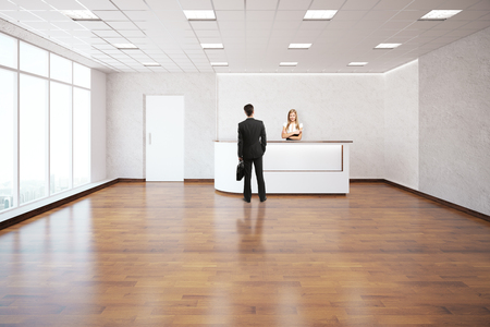 clean floor: Young female worker and customer at reception desk in modern interior with clean wooden floor, concrete walls and window with city view. 3D Rendering Stock Photo
