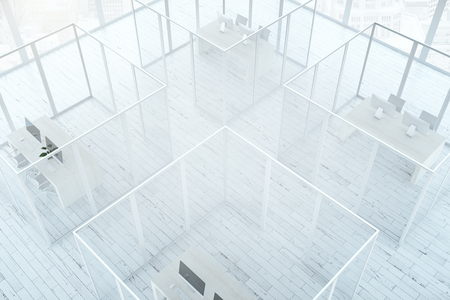 glass office: Top view of abstract office interior with framed glass partitions and white wooden floor. 3D Rendering