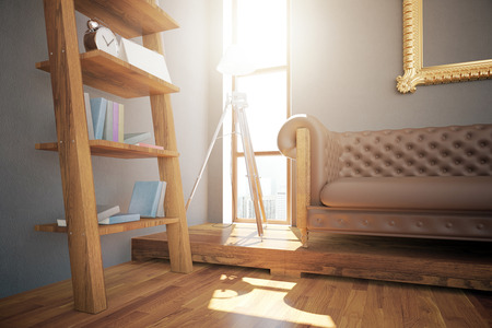 leather couch: Hipster interior design with wooden floor, ladder shelves with items, brown leather couch, lamp, ornate golden frame and small window with city view and sunlight. 3D Rendering