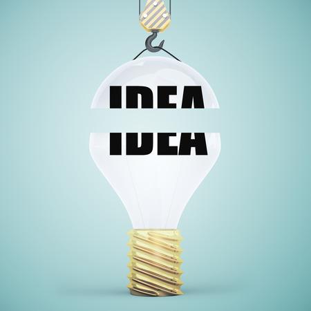 Creative light bulb suspended on crane hook. Blue background. Idea concept. 3D Rendering
