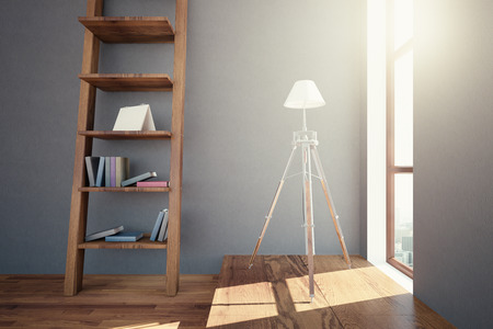 libraries: Side view of hipster interior design with wooden floor, ladder shelves with items and small window with city view and sunlight. 3D Rendering Stock Photo