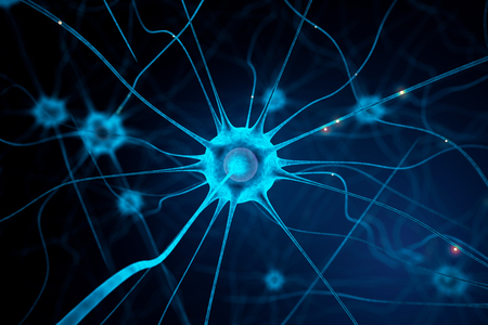 Closeup of blue nerve cell on abstract dark background. 3D Rendering
