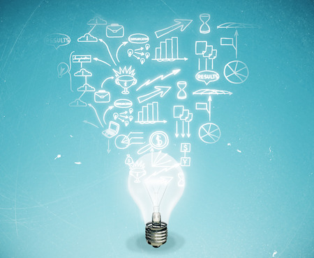 idea: Abstract light bulb with business sketch on light blue background. Business idea concept Stock Photo