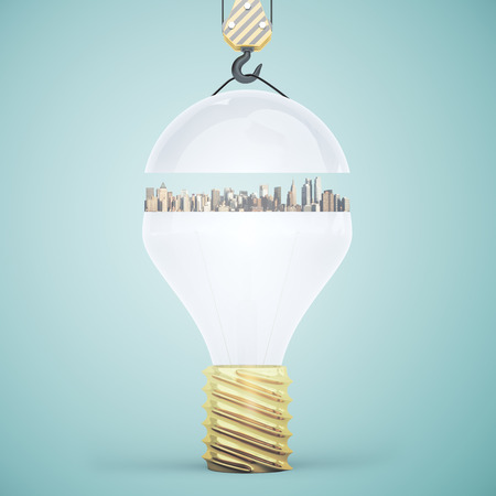 city light: Abstract light bulb with city suspended on crane hook. Light green background. Idea concept. 3D Rendering