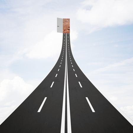 possibilities: Abstract road leading to open door with possibilities on bright sky background. Success concept. 3D Rendering Stock Photo