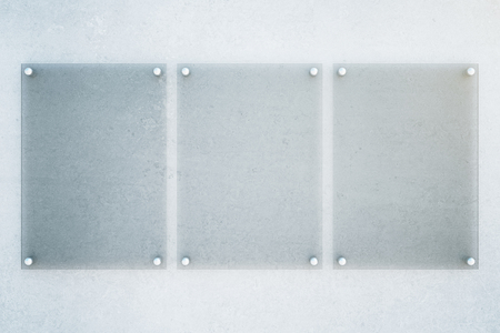 metal plate: Front view of three empty glass plates on concrete wall background. Mock up, 3D Rendering