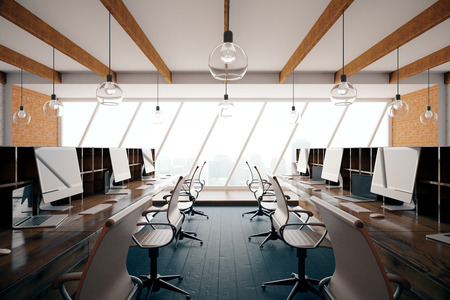 comfort classroom: Contemporary coworking office interior with city view. Side view, 3D Rendering
