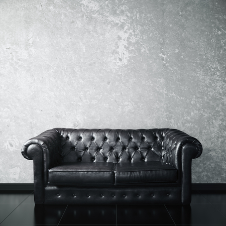 leather couch: Interior with concrete wall, shiny floor, dark leather couch and empty textured concrete wall. Mock up, 3D Rendering Stock Photo