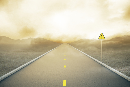 the way forward: Road with forward sign on abstract misty landscape background. Concept of following the right way. 3D Rendering Stock Photo