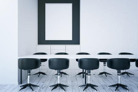 area: Front view of white room with table, chairs and empty picture frame. Mock up, 3D Rendering