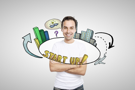 light circular: Abstract circular startup sketch around casual smiling young man on light background. Start up concept