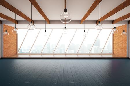 Creatieve interieur met houten vloer, plafond, bakstenen muren en ramen met uitzicht op de stad. 3D Rendering Stockfoto