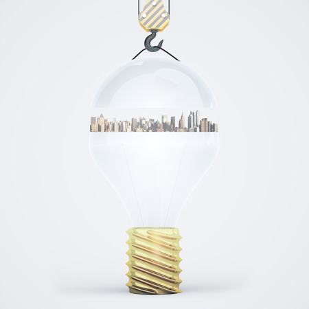 city light: Abstract light bulb with city suspended on crane hook. Light background. Idea concept. 3D Rendering