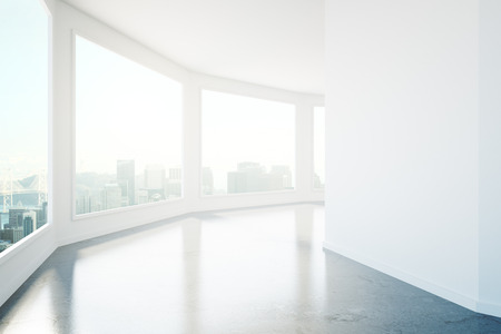 corridor: Empty concrete corridor interior with windows and city view. 3D Rendering Stock Photo