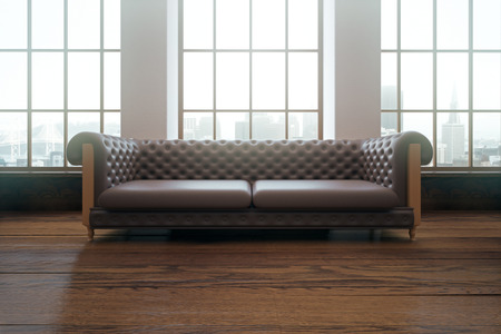 leather sofa: Interior with luxurious brown leather sofa and windows with city view. 3D Rendering Stock Photo