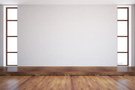 Vooraanzicht van de ruimte met lege betonnen muur, ramen en houten vloer. Mock-up, 3D-rendering