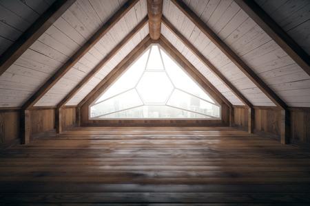 wood room: Creative loft interior design with city view and wooden floor. 3D Rendering
