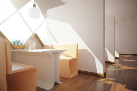 Side view of modern cafe interior with with sunlight. 3D Rendering