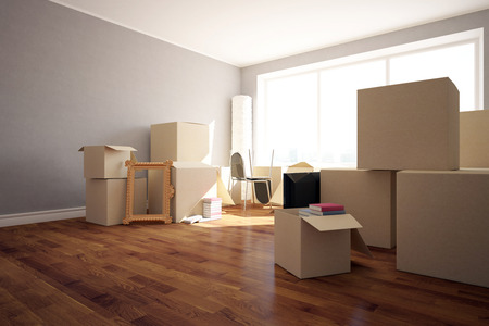 clean floor: Stacks of cardboard boxes with various objects in clean room with wooden floor, grey walls and windows. Moving in concept. Side view, 3D Rendering Stock Photo