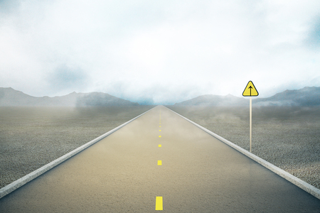 the way forward: Road with forward sign on abstract foggy landscape background. Concept of following the right way. 3D Rendering Stock Photo