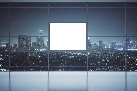 interior window: Front view of interior with floor-to-ceiling panoramic window, blank square banner and illuminated night city view. Mock up, 3D Rendering Stock Photo