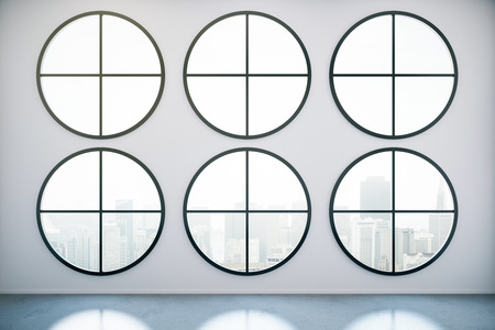 multiple house: Creative concrete interior with six circular windows, city view and daylight. 3D Rendering