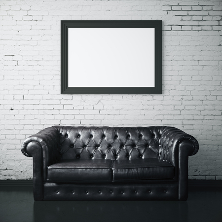leather sofa: White brick interior with dark leather sofa and blank picture frame. Mock up, 3D Rendering