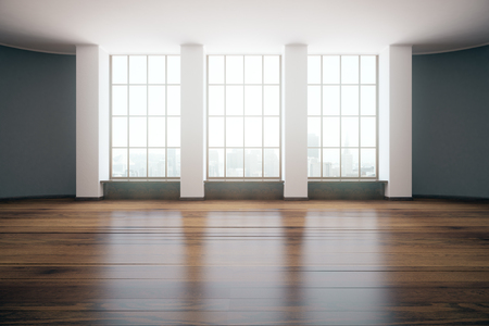 unfurnished: Modern unfurnished room design with wooden floor and windows with city view. 3D Rendering Stock Photo