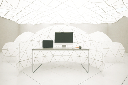 computer screens: Abstract interior with blank laptop and computer screens on desktop. Mock up, 3D Rendering
