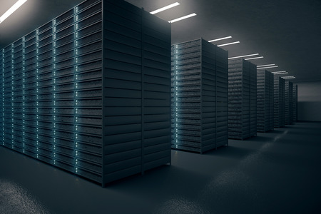 server technology: Side view of server room. Networking communication technology concept. 3D rendering