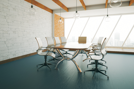 conference room: Modern conference room with new equipment and city view. 3D Rendering