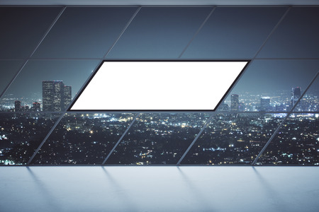 blank billboard: Front view of interior with floor-to-ceiling panoramic window, blank billboard and illuminated night city view. Mock up, 3D Rendering