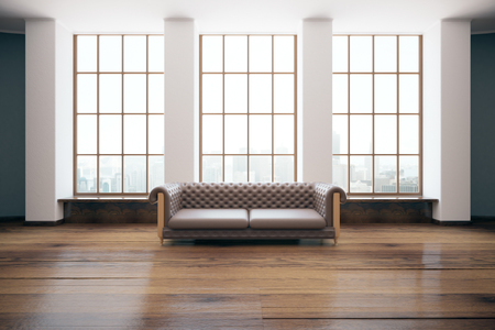 leather sofa: Room with luxurious brown leather sofa and windows with city view. 3D Rendering Stock Photo