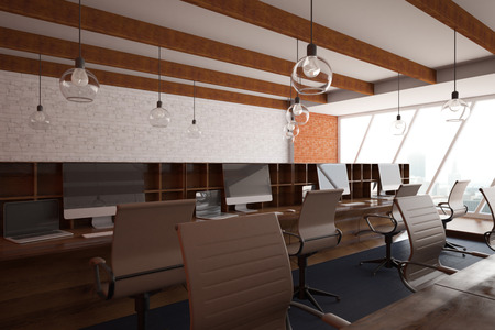 comfort classroom: Contemporary coworking office interior with city view. Close up, 3D Rendering