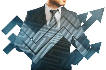 business challenge: Businessman in suit and abstract chart arrows on maze background. Double exposure. Business challenge concept