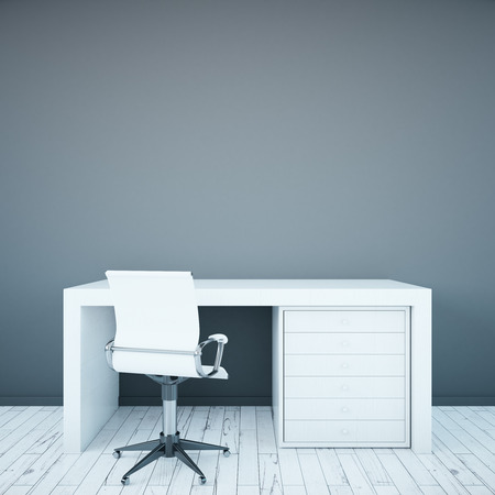 comfort classroom: White desktop and armchair on blank concrete wall background. Mock up, 3D Rendering Stock Photo