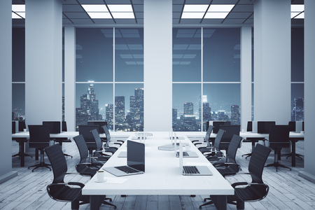 computer room: Simple conference room interior with equipment and night city view. 3D Rendering Stock Photo